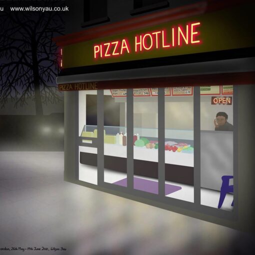 A drawing of a pizza takeaway outlet from the street in the evening, showing the name 'Pizza Hotline' in red neon lights.