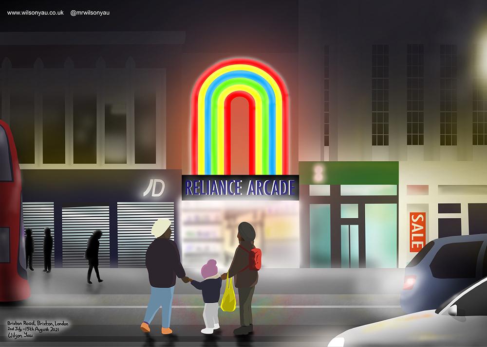 Nighttime, Reliance Arcade, Brixton Road, Brixton, London, England, drawn on an iPad 2nd July to 15th August 2021 (Drawing 1284, Wilson Yau)