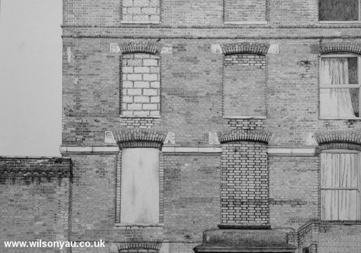 Victorian buildings, Acton, Londn. 2012 Oct 14th. Drawing by Wilson Yau
