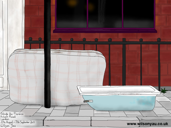 Abandoned mattress and bath tub, Herne Hill, 27th August 2013