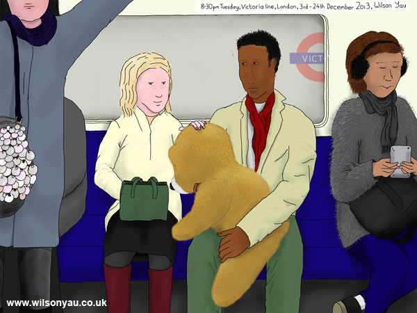 Giant bear, 8.30pm Tuesday, Victoria line, London, 3rd December 2013
