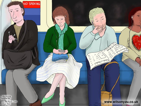 Nail biting, Friday morning, Victoria line, London, 14th March 2014