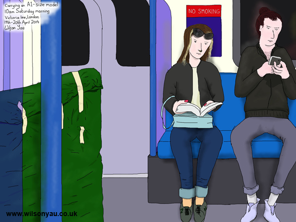 Carrying an A1 model, 10am Saturday morning, Victoria line, London, 19th April 2014