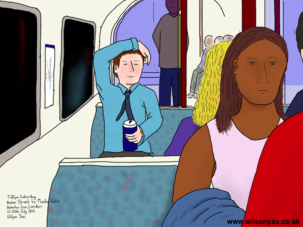 Drinking on a Saturday evening, Edgware Road to Maida Vale, Bakerloo line, 12th July 2014