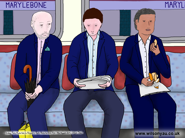 Blue suits, Friday morning, Maida Vale to Regent's Park, Bakerloo line, London 15th August 2014