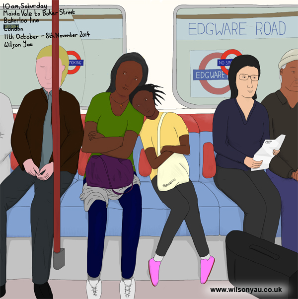 10am, Saturday morning, Maida Vale to Baker Street, Bakerloo line, 11th October 2014