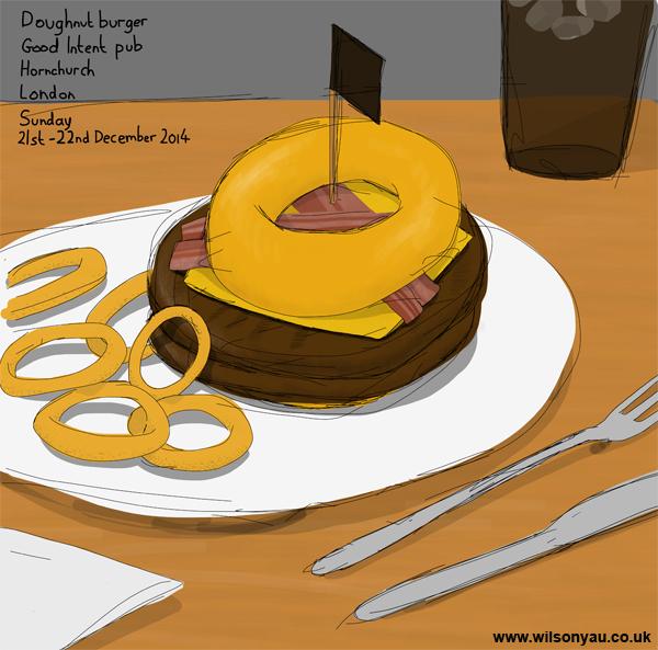 Doughnut burger, Good Intent pub, Hornchurch, London, 21st December 2014