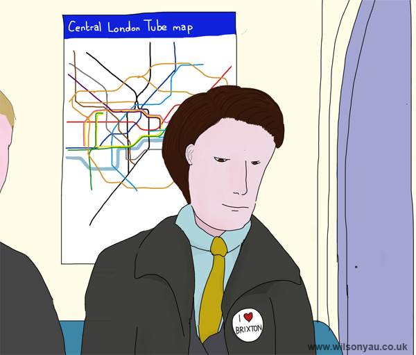Close-up: 'I love Brixton', 8.45am, Wednesday morning, 7th January 2015, Brixton to Oxford Circus, Victoria line, London