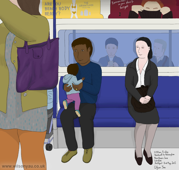Father and baby, 11.30am, Good Friday, 3rd April 2015, on a Northern line Tube train from Stockwell to Kennington station, London
