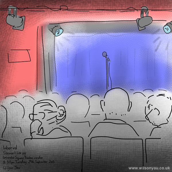 Interval, Stewart Lee comedy gig, Leicester Square Theatre, London, 29th September 2015
