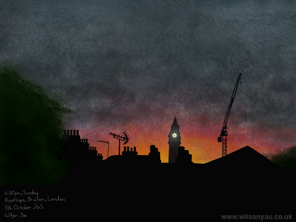 6.30pm, sunset over rooftops and Lambeth Town Hall clock tower, Brixton, London, 11th October 2015 (Drawing 552)