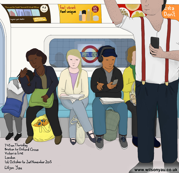 7.45am Thursday 1st October 2015, Brixton to Oxford Circus stations, Victoria line, London