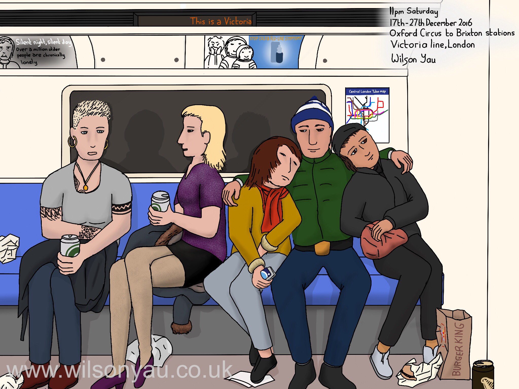 11pm Saturday, Oxford Circus to Brixton stations, Victoria line, London, 17th December 2016 (Drawing 807)