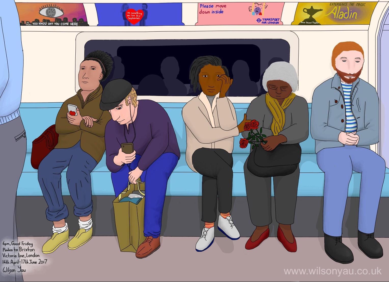 6pm, Good Friday, Pimlico to Brixton, Victoria line, London, 14th April 2017