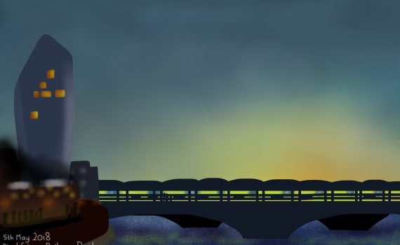 Sunset at Bankside and Blackfriars Railway Bridge, London, England, 5th May 2018 (Drawing 1113)