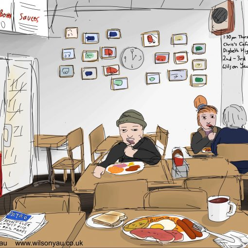 Drawing of the inside of Chris's Cafe, Digbeth