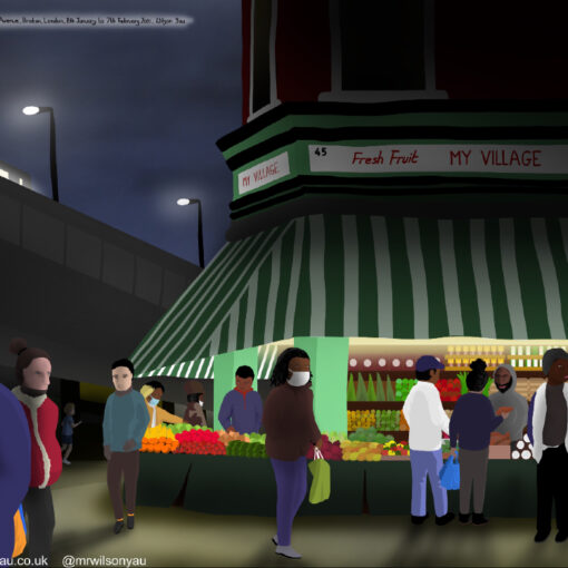 iPad drawing of Electric Avenue in the evening, with fruit stalls and crowds of people.